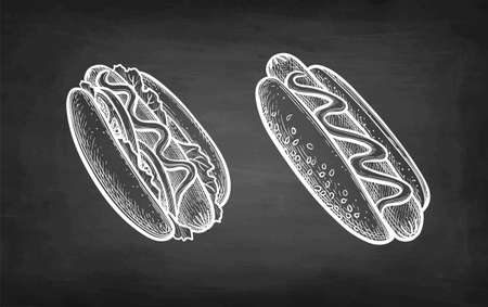 Chalk sketch of hot dogs.