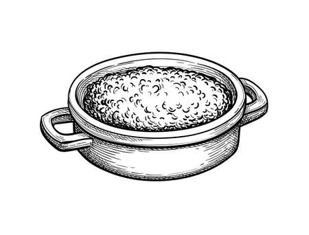 Ink sketch of oatmeal. 일러스트