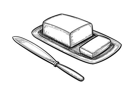 Ink sketch of butter and table knife.