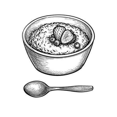 Ink sketch of oatmeal. Illustration