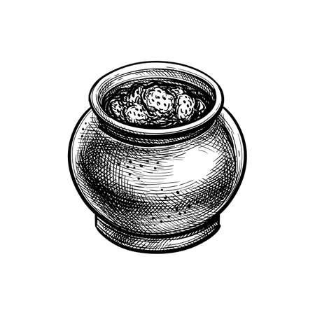 Ink sketch of jam jar. Illustration