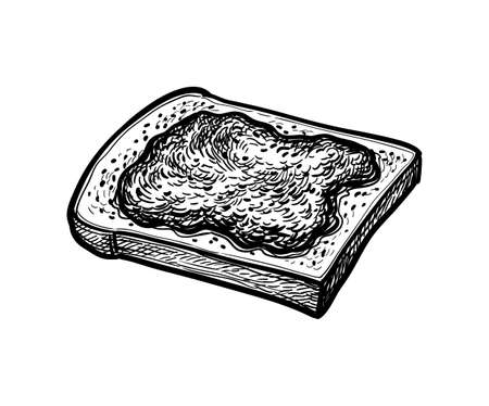 Ink sketch of toast with jam.