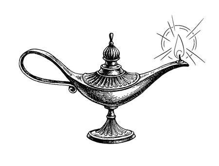 Burning oil lamp.