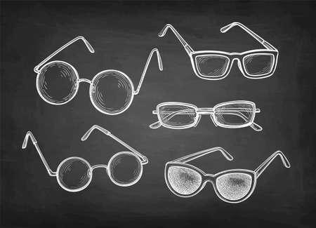 Chalk sketch set of eyeglasses.