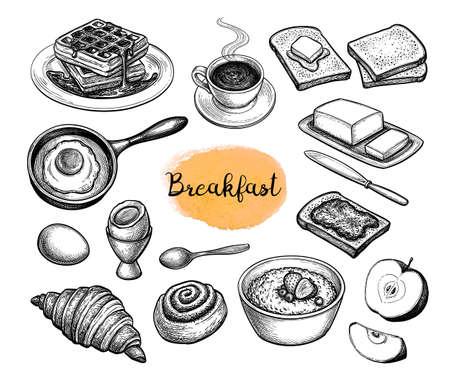 Breakfast meal big set.