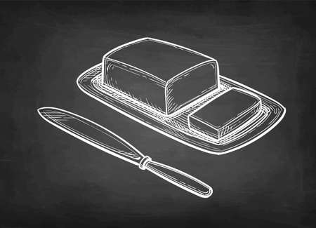 Chalk sketch of butter and table knife. 일러스트