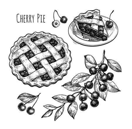 Ink sketch of cherry pie. Illusztráció