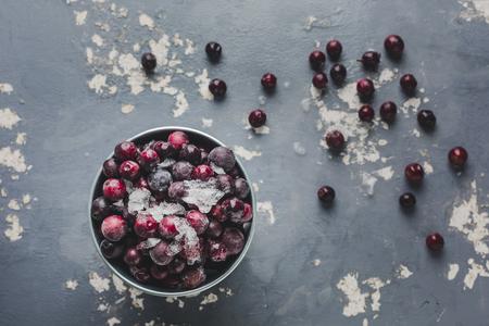 frozen cherries on light grey background Stok Fotoğraf