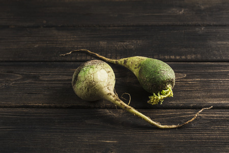 Ugly vegetable green radish with sprouts on a dark wooden natural background