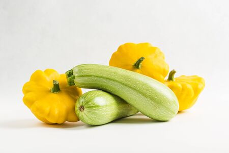zucchini and squash isolated on white background, close up, copy space, vegetables for healthy eating 版權商用圖片