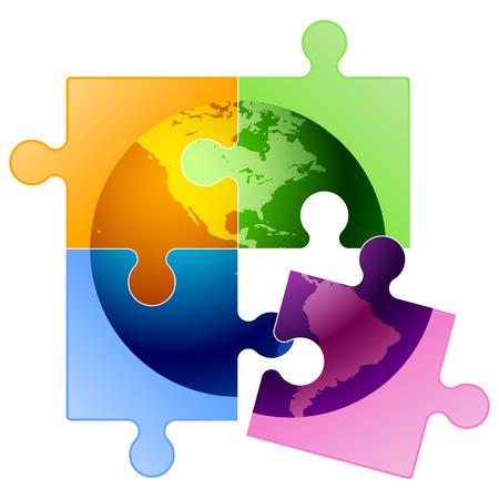 Vector globe puzzle