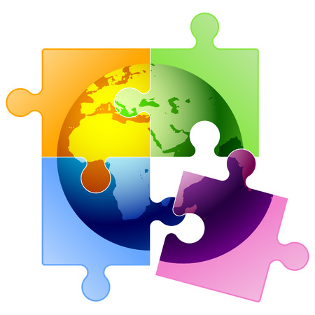 wereldbol groen: Vector globe puzzel