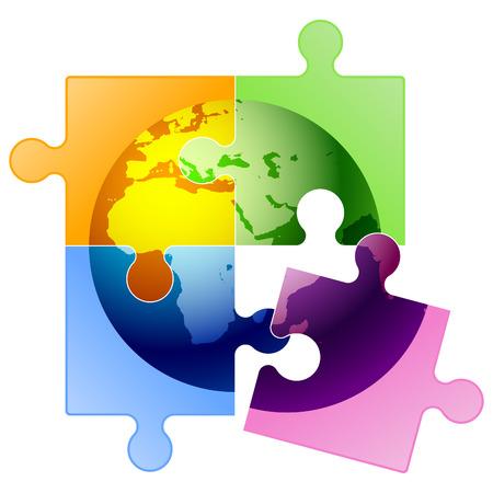 entreprise puzzle: Vector puzzle globe