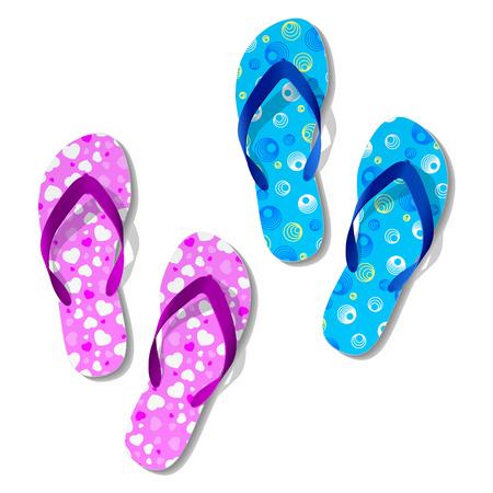 thongs: Beach sandals. Vector. 2