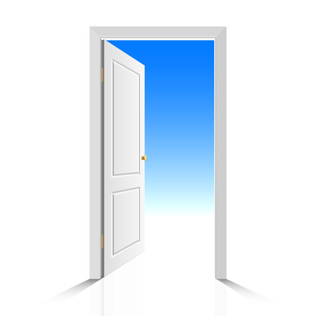 Opened white door with view on clear sky. Vector illustration.