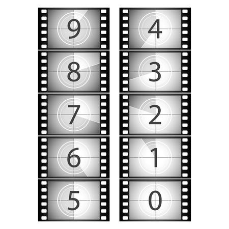 Film countdown. Vector illustration.