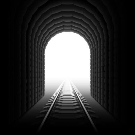 トンネル: 鉄道トンネル。詳細なイラスト。