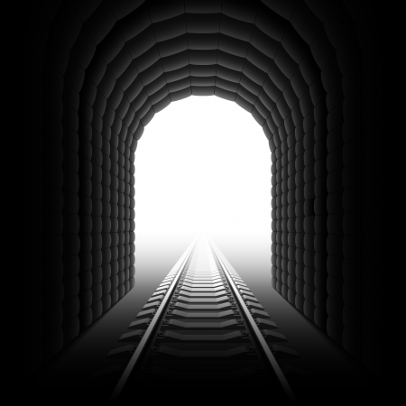 light tunnel: Railroad tunnel. Detailed illustration. Illustration