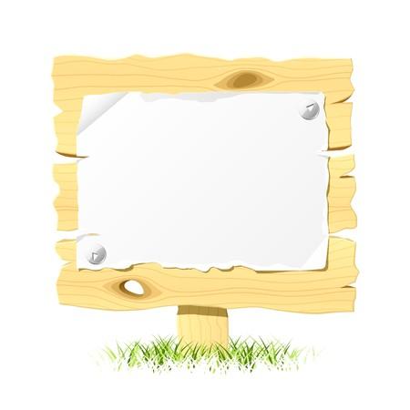 pancarte bois: Panneaux en bois avec du papier vierge