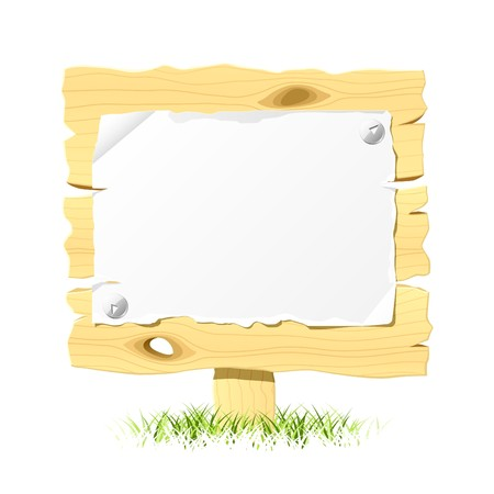 drawingpin: Wooden billboard with blank paper Illustration