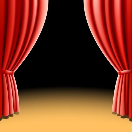 curtain theater: Cortina de teatro rojo sobre fondo negro  Vectores