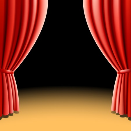 Red theater curtain on black background Stock Vector - 7856504