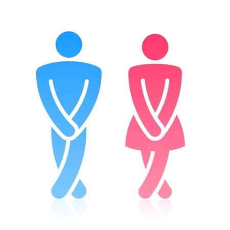 Oops!.. Male and female symbols. Vector