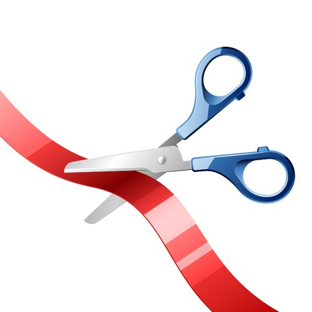 Scissors cutting red ribbon Vector