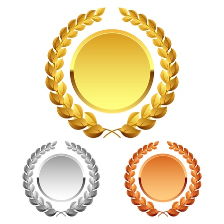 gold silver bronze: Laurel wreath