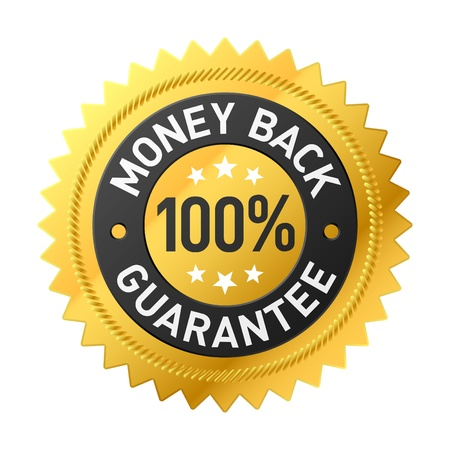 seal of approval: Money back label Stock Photo