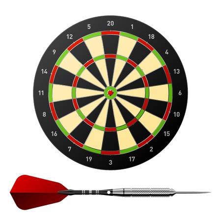dartboard: Dartboard with dart.  Stock Photo