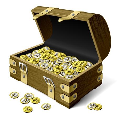 cofre del tesoro: Cofre con monedas Foto de archivo