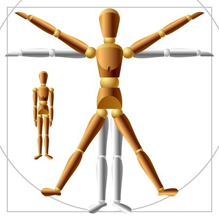 uomo vitruviano: Uomo in legno. È possibile modificare facilmente la postura, tutte le parti sono liberamente ruotare. Archivio Fotografico