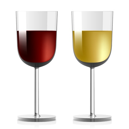 Wine glasses with red and white wine   Illustration