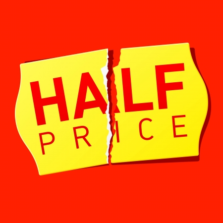 Half price tag Vector