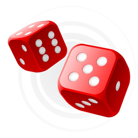 five objects: Dices rosso