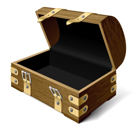 retro furniture: Empty treasure chest