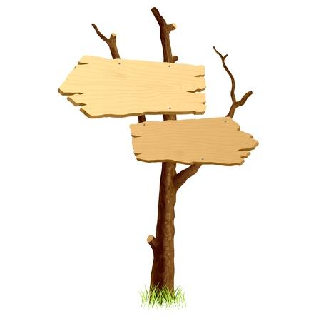 pancarte bois: Panneaux en bois  Illustration