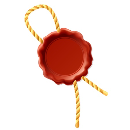 tampon cire: Sceau de cire avec corde Illustration