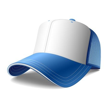 visor: Blue baseball cap
