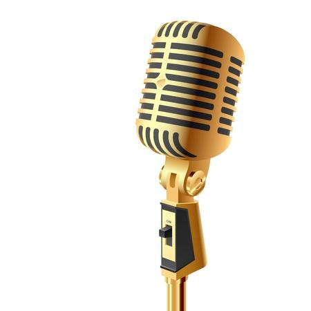 microfono antiguo: Micr�fono de oro Vectores
