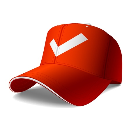 baseball cap: Red cap. Insert your logo or graphics.  Illustration