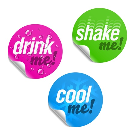 Drink me, shake me and cool me stickers Stock Vector - 9882063