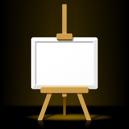 artist's canvas: Wooden easel with blank canvas Illustration