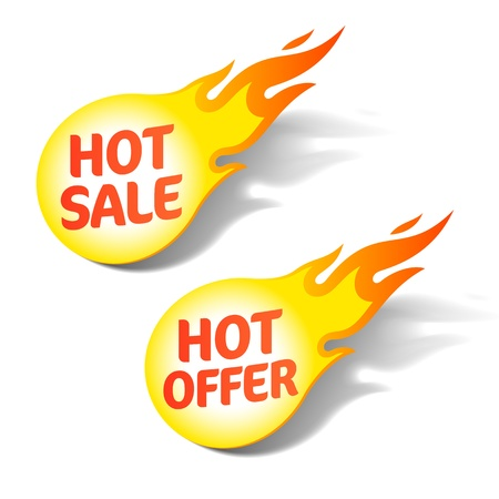 price reduction: Hot sale and hot offer tags