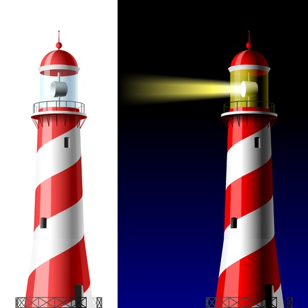 Lighthouse on white and dark Vector