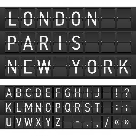 timetable: Insieme di lettere su un calendario meccanico
