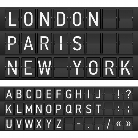 scoreboard: Set of letters on a mechanical timetable