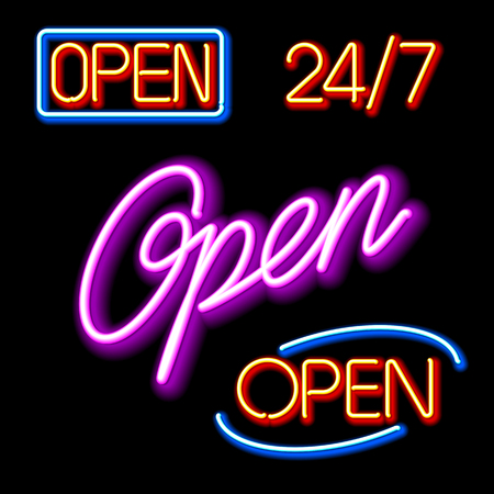 Neon Open signs Stock Vector - 9882049