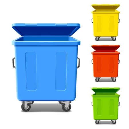 recycle symbol: Colorful recycling bins